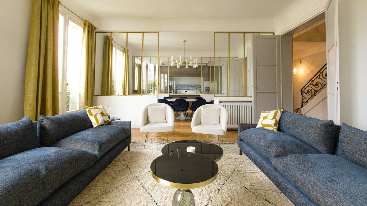 Salon d'un hotel particulier par l'Agence Intérieurs, Architecte d'intérieur UFDI à Paris 75 et Ile-de-france.