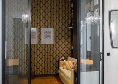 Alcove salon avec portes vitrées, par Fabienne Boé de Pirey, Architecte d'intérieur UFDI à Paris 75