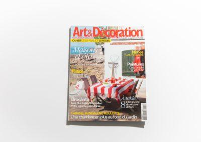 ART ET DECORATION Aout 2012 - Couverture - Article sur Fabienne Boé de Pirey, Architecte d'intérieur et Décoratrice à Paris