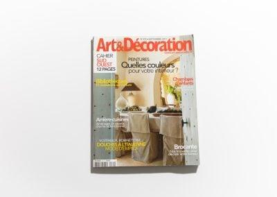 ART ET DECORATION Septembre 2011 - Couverture - Article sur Fabienne Boé de Pirey, Architecte d'intérieur et Décoratrice à Paris