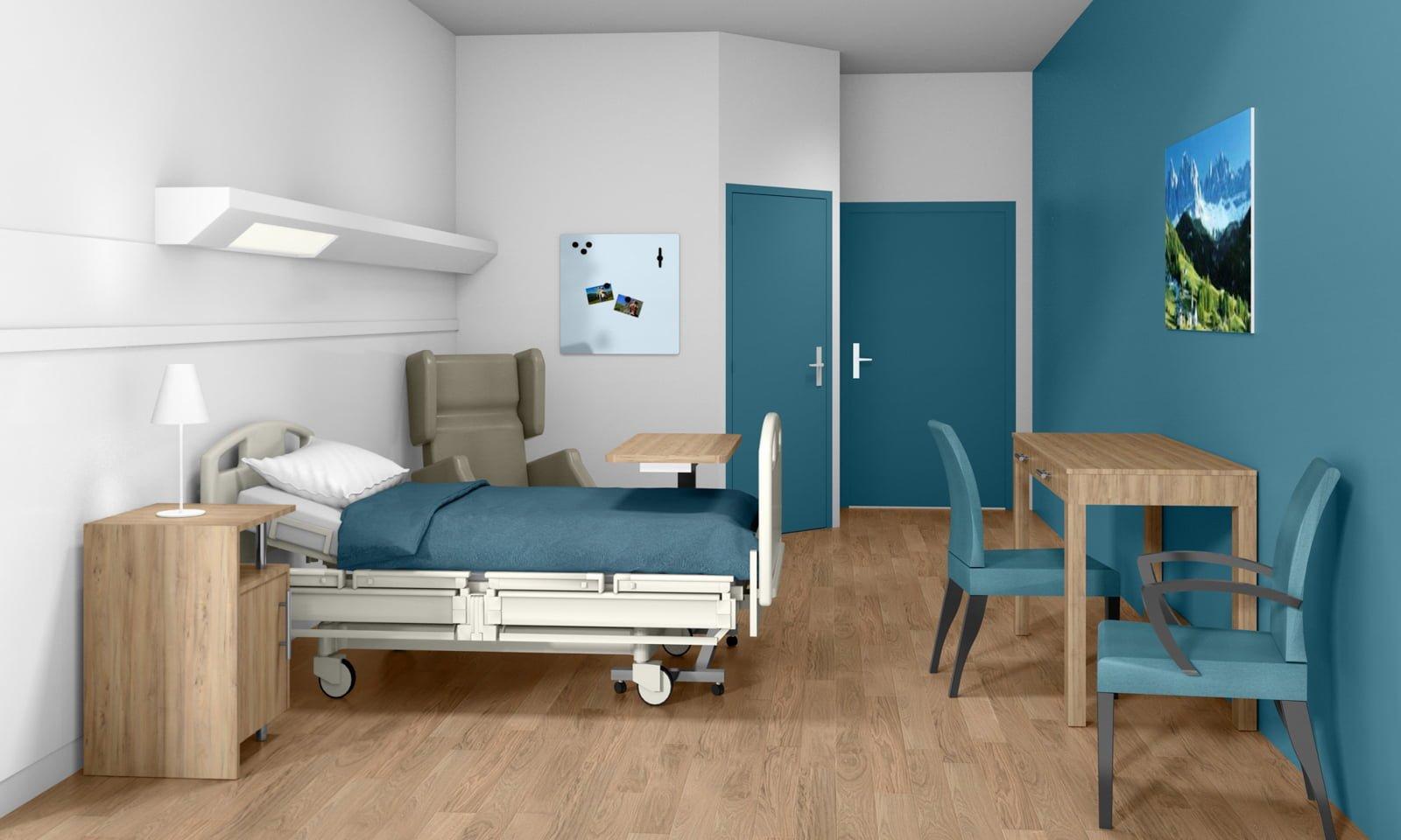 Décoration de chambre d'hôpital par Fabienne Boé de Pirey, Archictecte d'intérieur UFDI à Paris 75 : simulation 3D