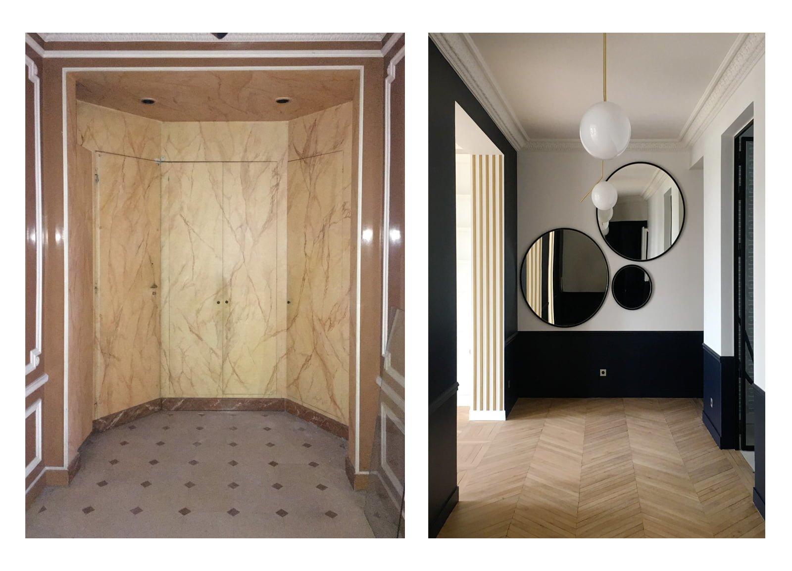 Hall d'entrée aménagé et décoré par Fabienne Boé de Pirey, Architecte d'intérieur UFDI à Paris 75