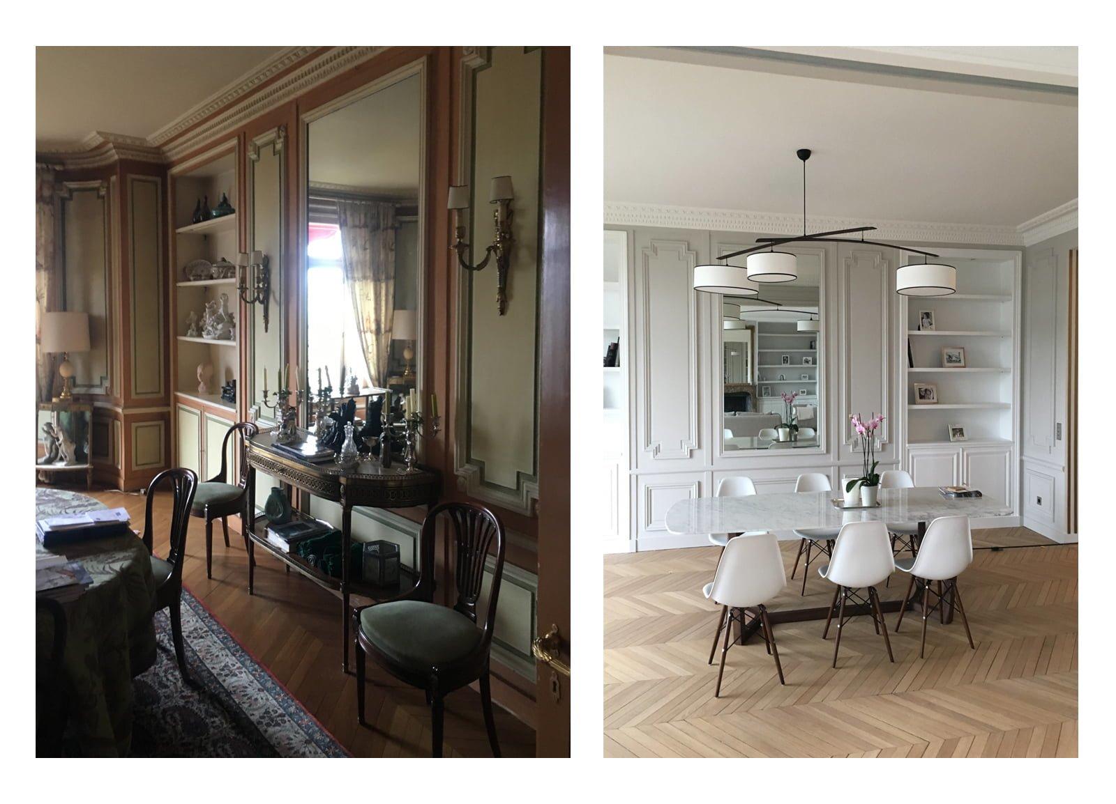 Salle à manger haussmannienne aménagée et décorée par Fabienne Boé de Pirey, Architecte d'intérieur UFDI à Paris 75