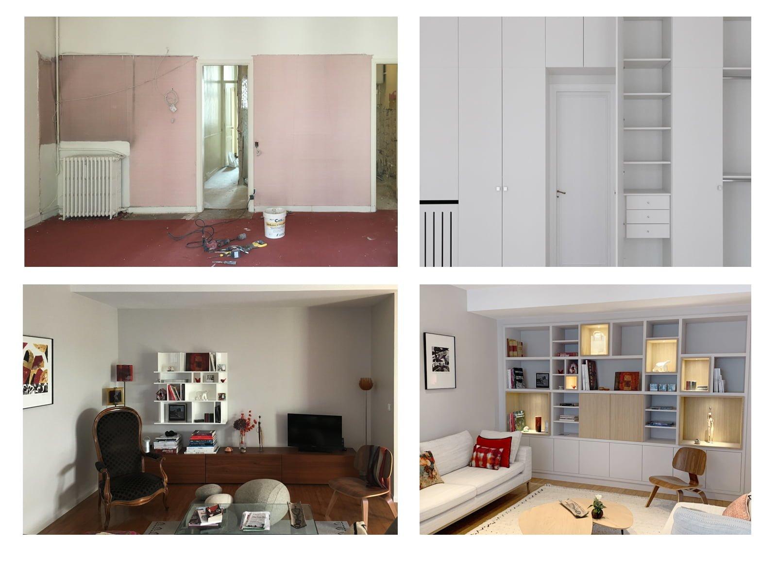 Agencement et bibliothèque conçue par Fabienne Boé de Pirey, Architecte d'intérieur UFDI à Paris 75